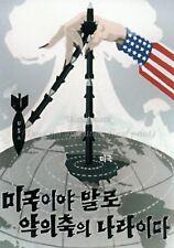 North KOREA Anti-American Propaganda Poster Print A3 + #D122