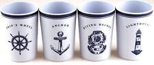 More details for navy white nautical 4 piece melamine plastic beaker cups