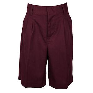Universal Boys Burgundy Shorts Pleated Front School Uniform Sizes 4 to 20