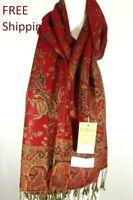 DG Pashmina Scarf Shawl Wrap-Paisley Black Red;Silk Cashmere.Soft*Trendy 011