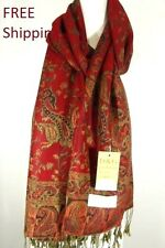 DG Pashmina Scarf Shawl Wrap-Paisley Black Red;Silk Cashmere.Soft*Trendy 011
