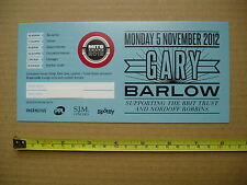 GARY BARLOW - 2012 Music Industry Trust AWARD VIP TICKET Used TAKE THAT - MITS