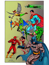 """JUSTICE LEAGUE 11"""" X 17"""" POSTER inked by KEVIN NOWLAN comic art Batman Superman"""