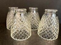 "4 Vtg Clear Glass Diamond Cut Pendant Sconce Light Shade Globe  2 1/16"" OD Fitte"