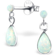 Dainty 925 Sterling Silver Opal Dangly Drop Stud Earrings Quality Jewellery UK