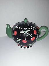 Mary Engelbreit Teapot Bank Black w/Cherries1995 w/ Original Stopper-As Is