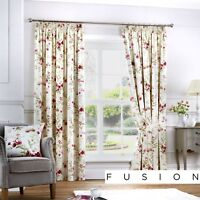 Fusion JEANNIE Red Floral Ready Made Pencil Pleat Curtains & Cushions