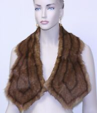 "vintage Multi Color stripe pattern Mink Fur Scarf Stole 41"" long lined 1 button"