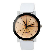 Mens Womens Watch Faux Leather Stainless Steel Quartz Couple Dress Wrist Watch