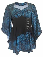 Black Blue Gothic Gypsy Medieval Angel Sleeve Fairytale Long Blouse Shirt Top