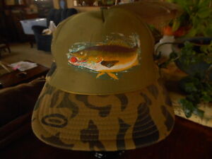 Trout Fishing Camo Camoflauge Snap Back Cap Hat Vintage