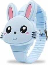Girls Watches for Kids, Cute Pink Rabbit Cartoon Shape Clamshell Design Digital