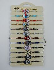 Wholesale 12 Day Of The Dead Sugar Skull Beaded Bracelets Adjustable Mix Colors