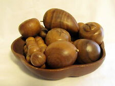 Wooden Fruit Bowl Solid Wood Grapes Banana Apple Cornucopia Thanksgiving