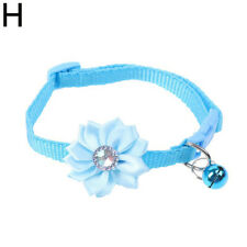 Dog Cat Adjustable Blue Flower Bell Collar Small Pet Kitten Buckle Choke Collar