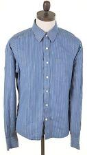 ABERCROMBIE & FITCH Mens Shirt Large Blue White Stripes Cotton Slim