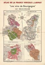 BURGUNDY BOURGOGNE WINE MAP Le Beaujolais. Appellations vineyards. LARMAT 1942