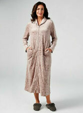 Carole Hochman Velour Long Zip Robe with Shawl Collar Taupe Large New