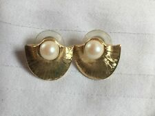 Pearl with Textured Gold Tone Shield Earrings
