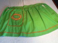 Vintage Bright Green Half Apron with Flower Power Applique Orange flower 1970's