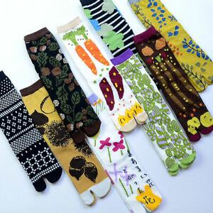 1Pair Two Toe Print Socks Cotton Ankle Middle Tube Socks Hosiery Streetwear