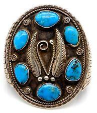 VINTAGE Sterling Silver / Turquoise Navajo Large Wide Cuff Bracelet
