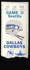 Football Ticket Dallas Cowboys 1980 - 11/27 - Seattle Seahawks Tony Dorsett HOF
