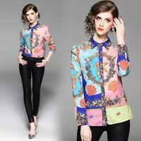 2019 Spring Summer Fall Floral Print Collar Button Front Women Top Shirt Blouse