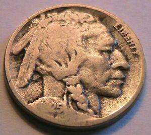 1925-D Buffalo Nickel Very Good (VG) Sharp Date Original Indian Head 5C USA Coin