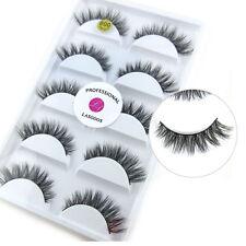 5Pairs/box 100% Real Siberian Mink Fur Messy Fake Eye Lashes 3D False Eyelashes