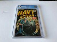 NAVY ACTION 11 CGC 4.5 COOL SUBMARINE LOADING TORPEDO COVER ATLAS COMICS 1956