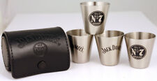 Jack Daniels 4 pcs. Stainless Steel Shot Travel 1 Oz. Glass Set W/ Leather Case