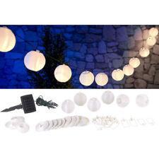 Lunartec Solar-LED-Lichterkette, warmweiß, mit 20 weißen Lampions, 3,8 m, IP44