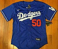 NEW! Los Angeles Dodgers #50 Mookie Betts Blue Jersey Mens Large 44 FAST SHIP!