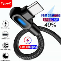 90° Right Angle Type-C USB LED Fast Charging Data Cable For Samsung A20E A50 A70