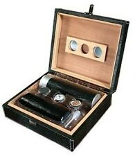 Black Gator Motif Leather Travel Humidor Kit ~ Ideal for Travel or Great Gift
