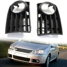 Pair Bumper Front Grill Corner Fog Light Grill Trim Covers For VW Golf Mk5 03-09