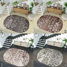 Small Extra Large Grey Brown Beige Oval Rugs Floral Design Soft Living Room Rug