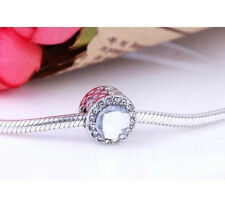 SILVER RADIANT HEARTS CLEAR CRYSTAL ROUND CHARM BEAD FOR BRACELET NECKLACE