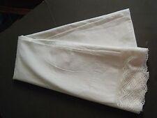 """Antique Pillow Sham Case Victorian King size Cotton 42"""" by 26"""" bobbin lace trim"""