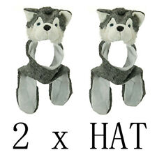 2 pc Plush Grey Husky Wolf Hat with Long Ear Flaps & Attached Mittens Winter