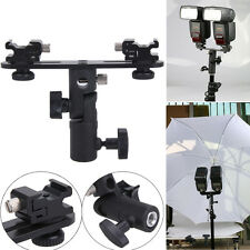 Flash Bracket Double 2 HotShoes Umbrella Holder Swivel Light Stand fr Speedlight
