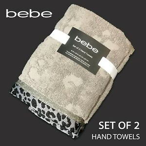 SET OF 2 - New - bebe - Hand Towels Soft Absorbent Taupe Leopard Print