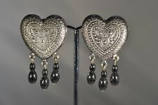 Hand Made Clip on Earrings Pewter Grey Colour Hearts
