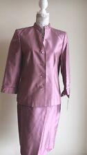 NWT Dana Buchman Black Label Pink Silk Suit Jacket Blazer & Matching Skirt  Sz 8