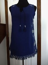 New!  C Wonder Navy Knit Top With Embroidery Trim        Size XS