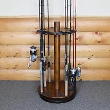 Spinning Fishing Rods Holder Dark Wood Storage Organizer 30 Fishing Pole Rack