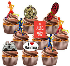 Running Runner Party Pack, Torta, Decoraciones 36 Comestibles stand-up Cupcake Toppers