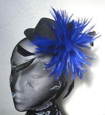 blue feather black mini top hat fascinator headpiece fancy dress hair clip