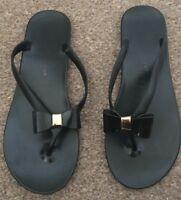 Atmosphere Black Jelly Sandals Flip Flops Bow Flat Summer Beach Size 3/4 SB16